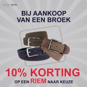 10% korting op een riem bij aankoop van een broek