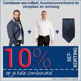 10% korting op de combinatie extra lang dress overhemd / stropdas / colbert