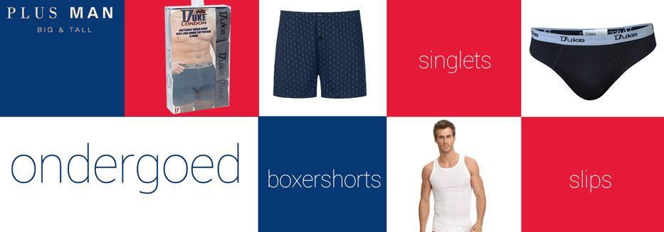 Grote maten ondergoed voor heren, slips, boxershorts, singlets
