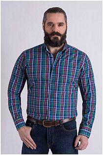 Mouwlengte7 ruiten overhemd van Plus Man