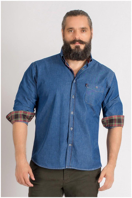 Denim lange mouw hemd van Plus Man